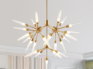 后现代 创意个性 羽花树形 客厅卧室书房餐厅吊灯 金色 25头 (含G4暖光1.5W)