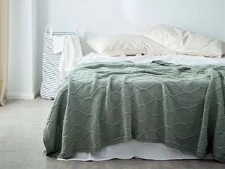 轻奢 针织 绿色 花纹 搭毯