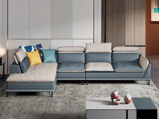 极简风格 超柔高弹 优质科技布+乳胶颗粒 1+3+右贵妃 双色沙发组合