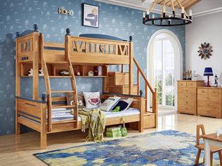 简美风格 泰国进口橡胶木 蜜桃金+军绿色 1.5m 上下床(含书架 含挂梯 不含踏步梯)