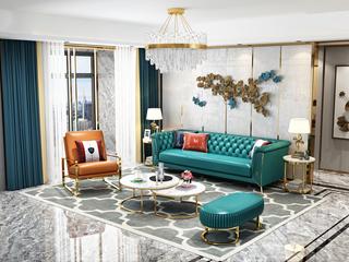 轻奢风格 头层真皮 俄罗斯进口松木框架 沙发组合(3+单椅+脚踏)(抱枕随机发货)