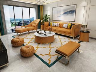 轻奢风格 皮艺 俄罗斯进口松木框架 沙发组合(双扶手3人位+贵妃+长凳)(抱枕随机发货)