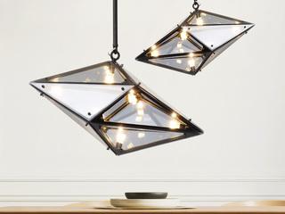 后现代 精美玻璃钻石造型 个性艺术设计师吊灯 茶色烟灰 小号横款 (含G4暖光3W)