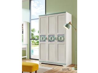 现代简约 主材樱桃木+白蜡木 大宝环保水性漆 全实木三门带抽衣柜