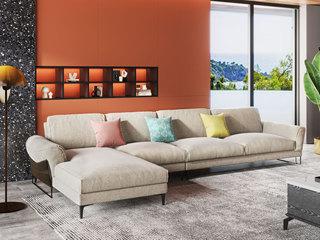 现代极简 舒适透气 优质布艺+实木框架 1+3+右贵妃转角沙发