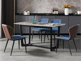 极简 意大利灰岩板 1.4米 餐桌