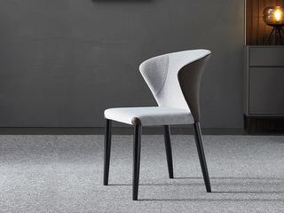 极简 科技布+皮革/橡木脚 餐椅