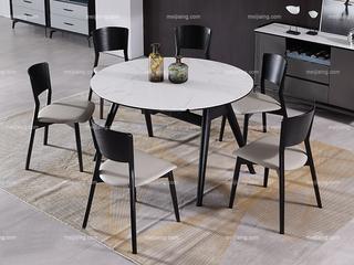 极简 雪山石岩板 1.3米 圆餐桌
