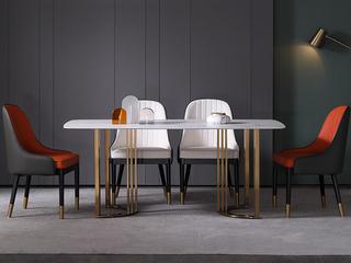 轻奢 雪山石岩板 1.3米 餐桌