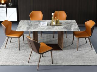 轻奢 意大利灰岩板 1.5米 餐桌