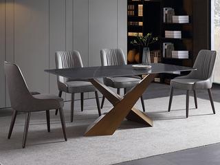 轻奢 劳伦黑金岩板 1.4米 餐桌