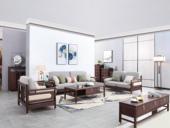 东方印记 新中式 紫檀色 泰国进口橡胶木+皮坐垫沙发组合(1+2+3)
