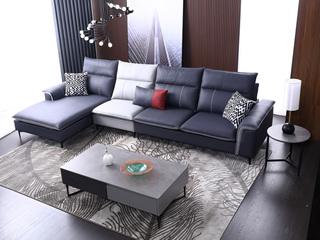 科技布 松木底架 现代简约 沙发组合(3+1+右贵妃)