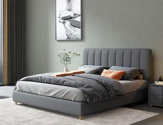 现代简约 舒适透气 优质棉麻+实木框架 1.8米 深灰色 床(搭配松木排骨架)