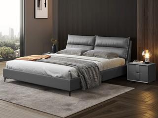现代简约 充盈软靠 超柔科技布+防潮加固排骨架 1.8米 深灰色 床
