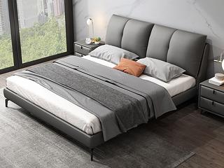 极简风格 充盈软靠 高端皮艺+实木框架 1.8米深灰色床(搭配实木排骨架)