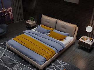 时尚简约 真皮+实木框架+白蜡木  1.8米卡其色双人床(搭配实木排骨架)