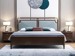 新中式 橡木 主卧 双人 储物 1.8米超纤皮 气压高箱床