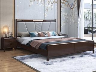新中式 橡木 主卧 储物 双人床 1.8米超纤皮 高箱带抽屉床