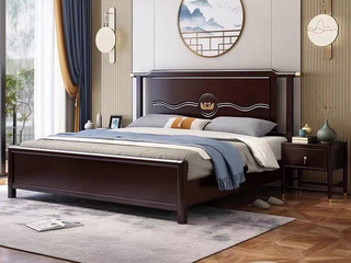 新中式 橡木 主卧 储物 双人床 1.8米 高箱带抽屉床