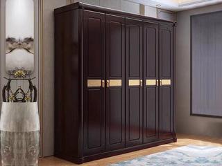 新中式风格 紫檀色 家用卧室 橡胶木6门衣柜