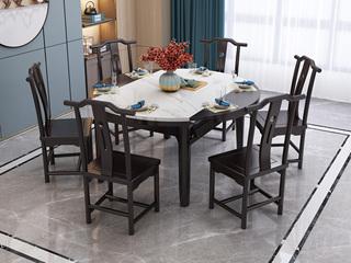 新中式风格 紫檀色 1.5米家用圆形大理石餐桌