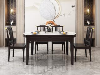 新中式风格 橡胶木岩板 紫檀色 家用圆形餐桌