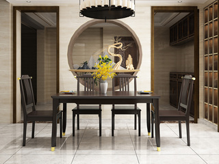 新中式风格 优质橡胶木 紫檀色 铜套款家用1.3米餐桌