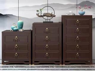 新中式风格 紫檀色 复古抽屉 橡胶木三斗柜