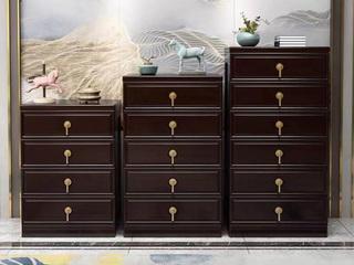 新中式风格 紫檀色 客厅卧室 橡胶木六斗柜