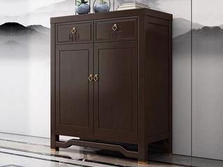 新中式风格 紫檀色 橡胶木两门鞋柜