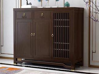 新中式风格 紫檀色 橡胶木三门鞋柜