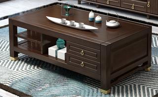 新中式 客厅双抽双层储物多层实木茶几长方形茶几