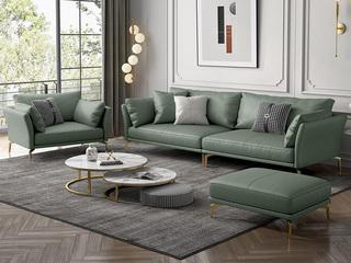 轻奢风格 超柔舒适 优质科技皮 1+4+脚踏 沙发组合