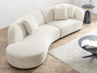 轻奢风格 羊毛绒布 实木框架 高回弹海绵 黑钛金封釉 羊毛卷沙发(右转角)