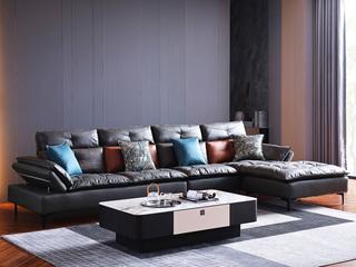 现代简约 科技布 亲肤舒适 头枕扶手可调节 转角沙发(2+2+贵妃踏)