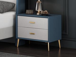 現代簡約 藍色+米白 床頭柜