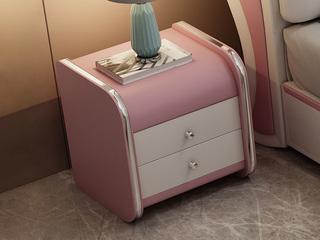 現代簡約 米白色+W-38粉色 床頭柜