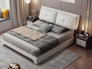 现代简约 皮艺 米白色+咖啡色 1.8*2.0米高箱床(抽屉躺左)