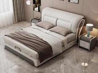 现代简约 皮艺 米白色+浅灰色 1.8*2.0米高箱床(抽屉躺左)