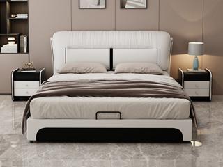 现代简约 皮艺 米白色+黑色 1.5*2.0米高箱床(抽屉躺左)