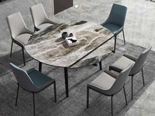 现代极简 意大利灰岩板 多功能 圆形餐桌