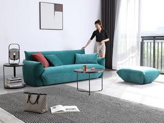 极简风格 海虎绒布 俄罗斯进口落叶松框架 高密度海绵组合沙发(3+脚踏)