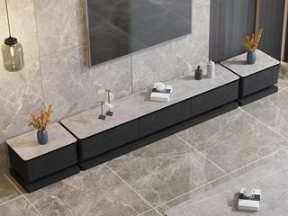 现代简约 阿玛尼灰岩板 黑色柜体 一斗柜