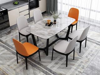 现代简约 意大利灰岩板+白蜡木 餐桌