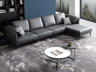 现代简约 皮艺 深蓝色 转角沙发(1+3+左贵妃)