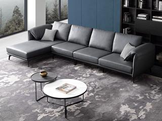 现代简约 头层真皮 深蓝色 转角沙发(1+3+右贵妃)