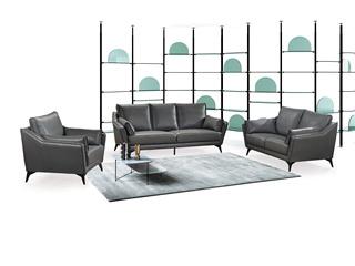 现代简约 皮艺 深灰色 沙发组合(1+2+3)