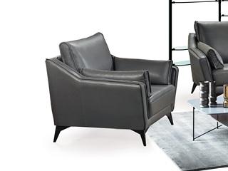 现代简约 头层真皮 深灰色 单人沙发