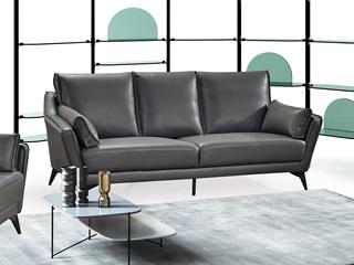 现代简约 皮艺 深灰色 三人沙发